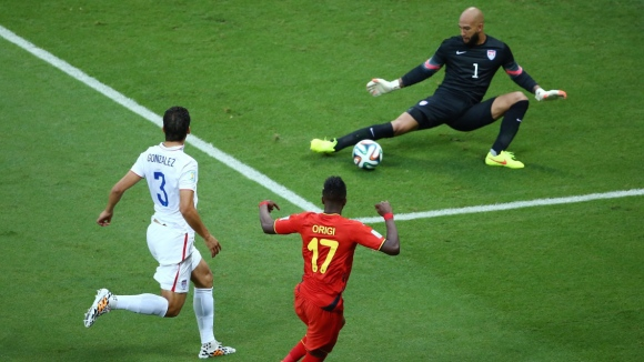 USA's Tim Howard with the goalkeeping display of the tournament against Belgium...
